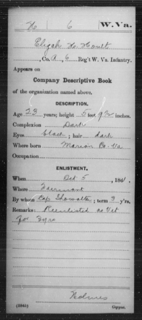 Hoult, Elijah H - Age 23, Year: 1861 - Miscellaneous Card Abstracts of Records - West Virginia