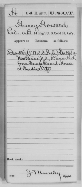 Howard, Harry - Age [Blank], Year: 1864 - 14th US Colored Heavy Artillery, Wi-Y AND Misc Cards - United States Colored Troops: Artillery Organizations