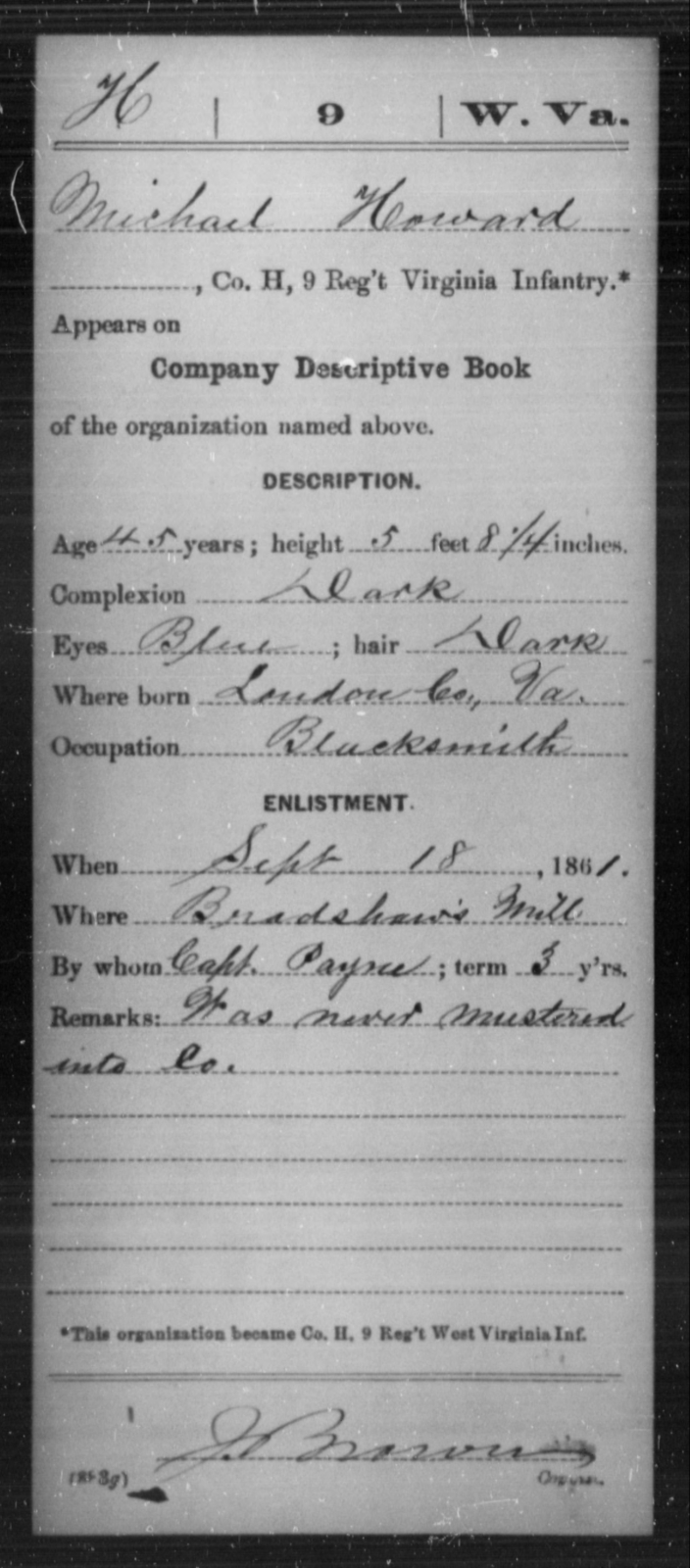 Howard, Michael - Age 45, Year: 1861 - Miscellaneous Card Abstracts of Records - West Virginia