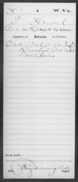 Howel, E - Age [Blank], Year: 1862 - Miscellaneous Card Abstracts of Records - West Virginia