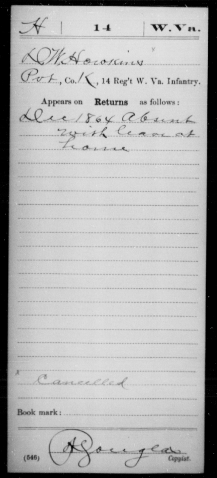 Howkins, D W - Age [Blank], Year: 1864 - Miscellaneous Card Abstracts of Records - West Virginia