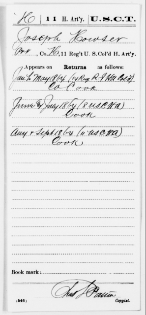 Howser, Joseph - Age [Blank], Year: 1864 - 11th US Colored Heavy Artillery, Misc Cards, E-Y - United States Colored Troops: Artillery Organizations