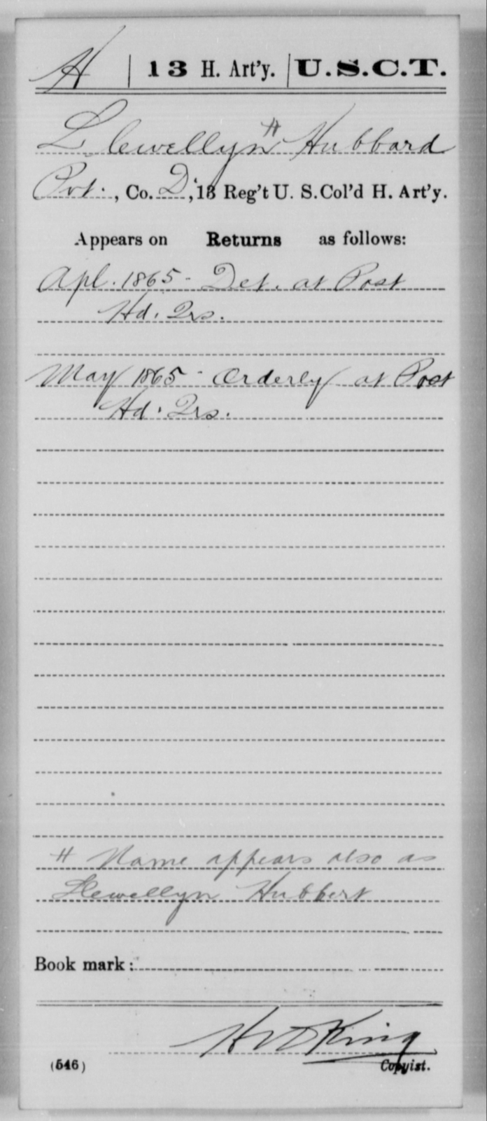 Hubbard, Llewellyn - Age [Blank], Year: 1865 - 13th US Colored Heavy Artillery, Misc Cards - United States Colored Troops: Artillery Organizations