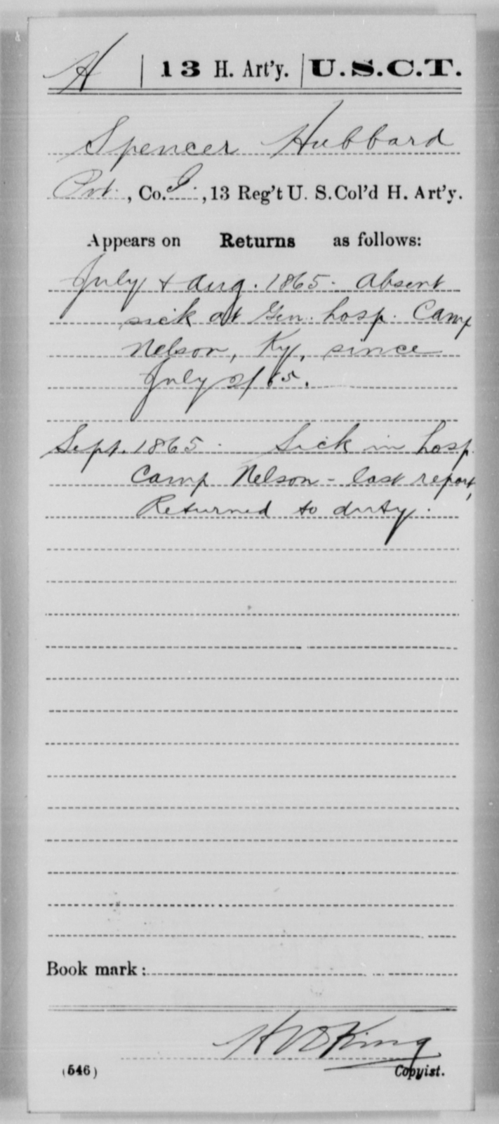 Hubbard, Spencer - Age [Blank], Year: 1865 - 13th US Colored Heavy Artillery, Misc Cards - United States Colored Troops: Artillery Organizations