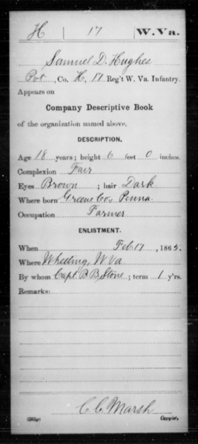 Hughes, Samuel D - Age 18, Year: 1865 - Miscellaneous Card Abstracts of Records - West Virginia