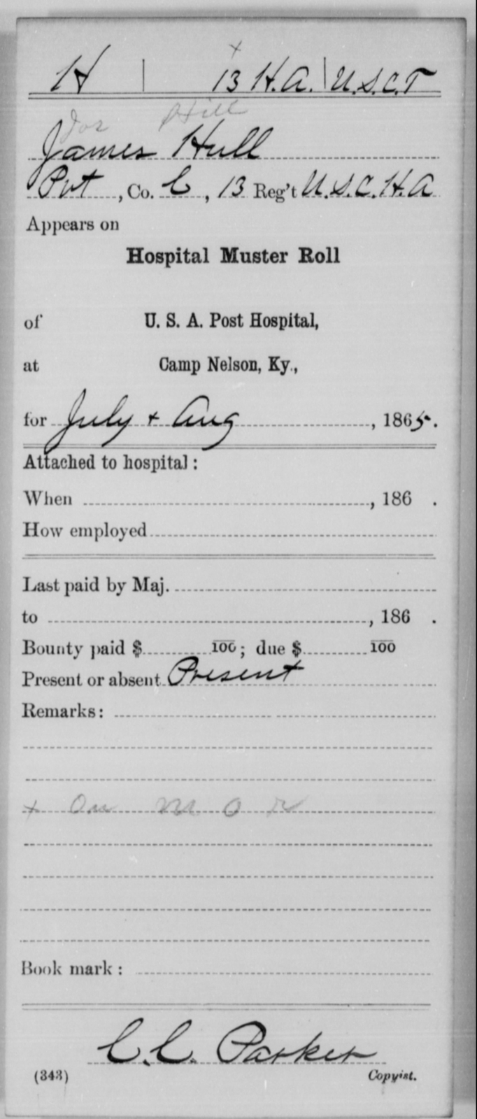 Hull, James - Age [Blank], Year: 1865 - 13th US Colored Heavy Artillery, Misc Cards - United States Colored Troops: Artillery Organizations