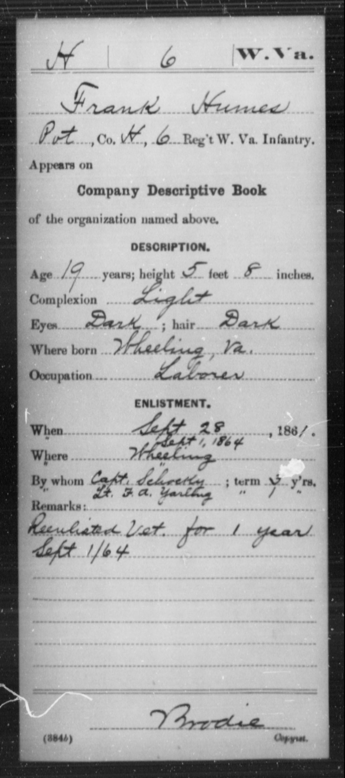 Humes, Frank - Age 19, Year: 1861 - Miscellaneous Card Abstracts of Records - West Virginia