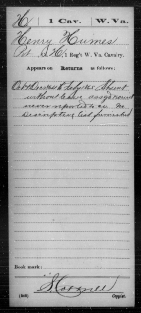 Humes, Henry - Age [Blank], Year: 1864 - Miscellaneous Card Abstracts of Records - West Virginia