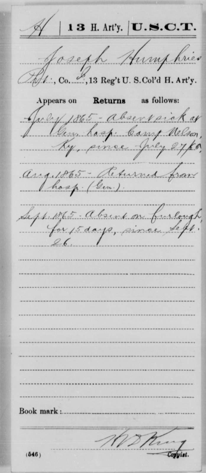 Humphries, Joseph - Age [Blank], Year: 1865 - 13th US Colored Heavy Artillery, Misc Cards - United States Colored Troops: Artillery Organizations