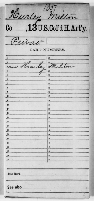 Hurley, Milton - Age [Blank], Year: [Blank] - 13th US Colored Heavy Artillery - United States Colored Troops: Artillery Organizations