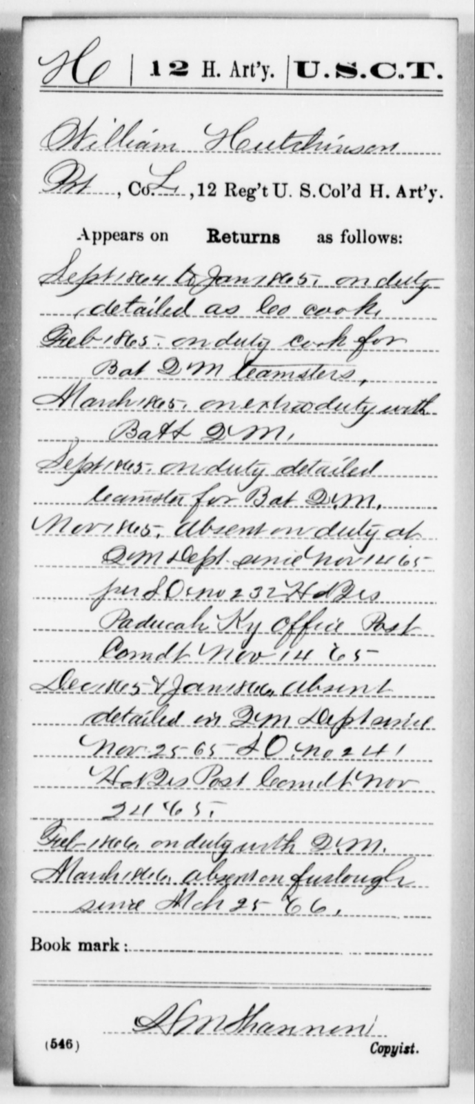 Hutchinson, William - Age [Blank], Year: 1864 - 12th US Colored Heavy Artillery, Misc Cards, H-Y - United States Colored Troops: Artillery Organizations