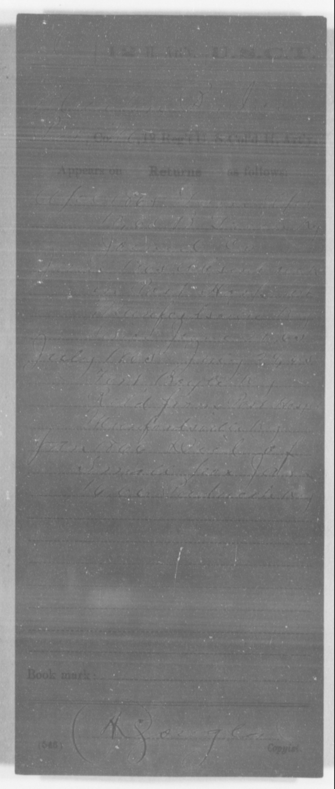 [ILLEGIBLE], [ILLEGIBLE] - Age [Blank], Year: [ILLEGIBLE] - 12th US Colored Heavy Artillery, Misc Cards, H-Y - United States Colored Troops: Artillery Organizations