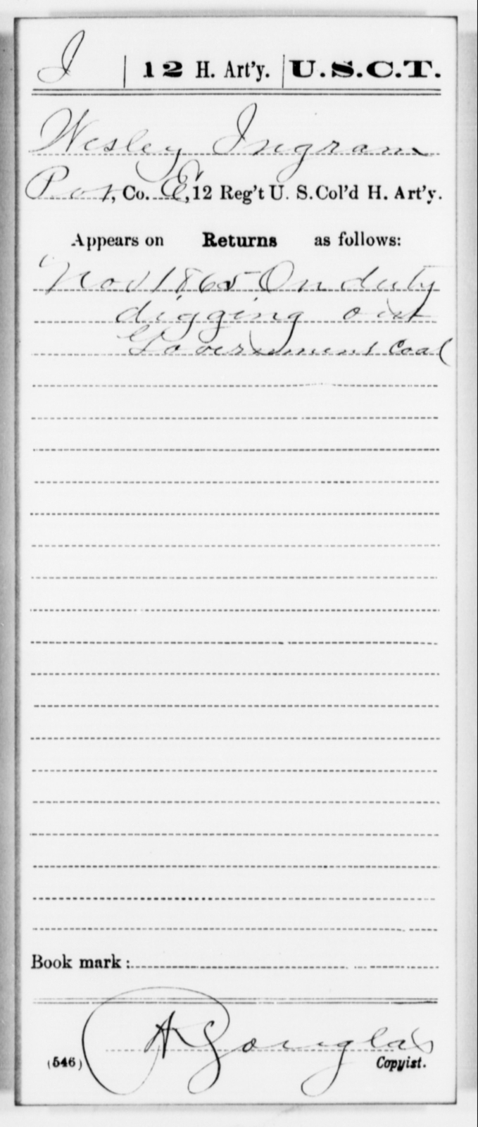 Ingram, Wesley - Age [Blank], Year: 1865 - 12th US Colored Heavy Artillery, Misc Cards, H-Y - United States Colored Troops: Artillery Organizations