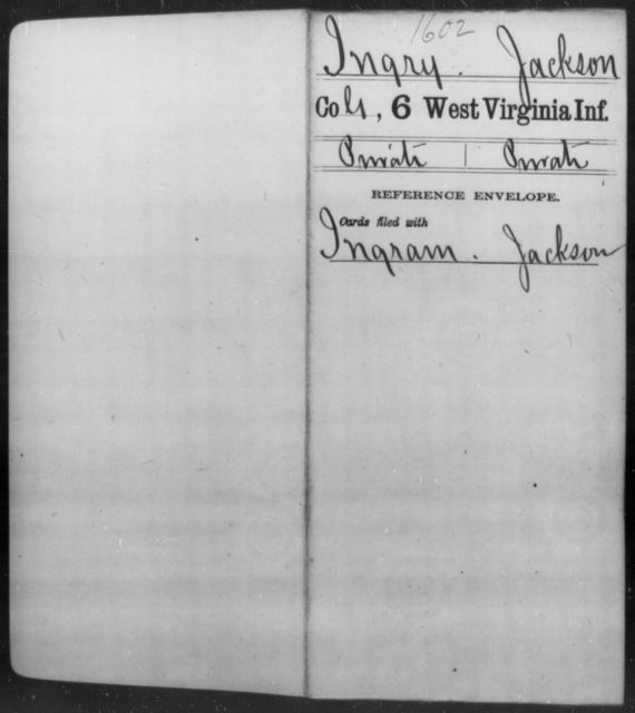 Ingry, Jackson - Age [Blank], Year: [Blank] - Sixth Infantry - West Virginia