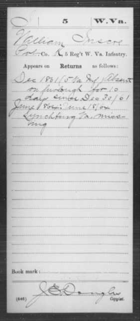 Inscoe, William - Age [Blank], Year: 1861 - Miscellaneous Card Abstracts of Records - West Virginia