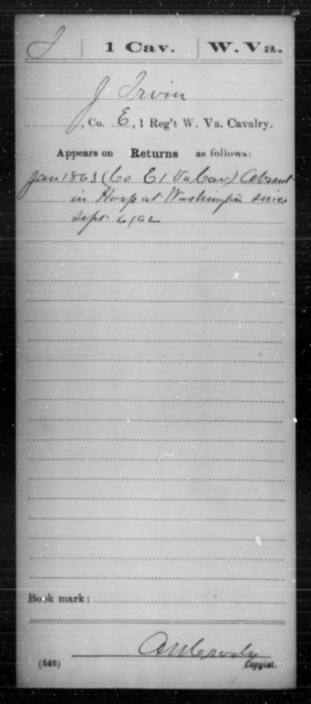 Irvin, J - Age [Blank], Year: 1863 - Miscellaneous Card Abstracts of Records - West Virginia