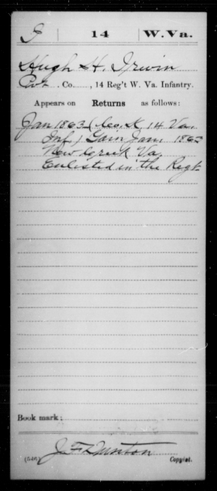 Irwin, Hugh H - Age [Blank], Year: 1863 - Miscellaneous Card Abstracts of Records - West Virginia