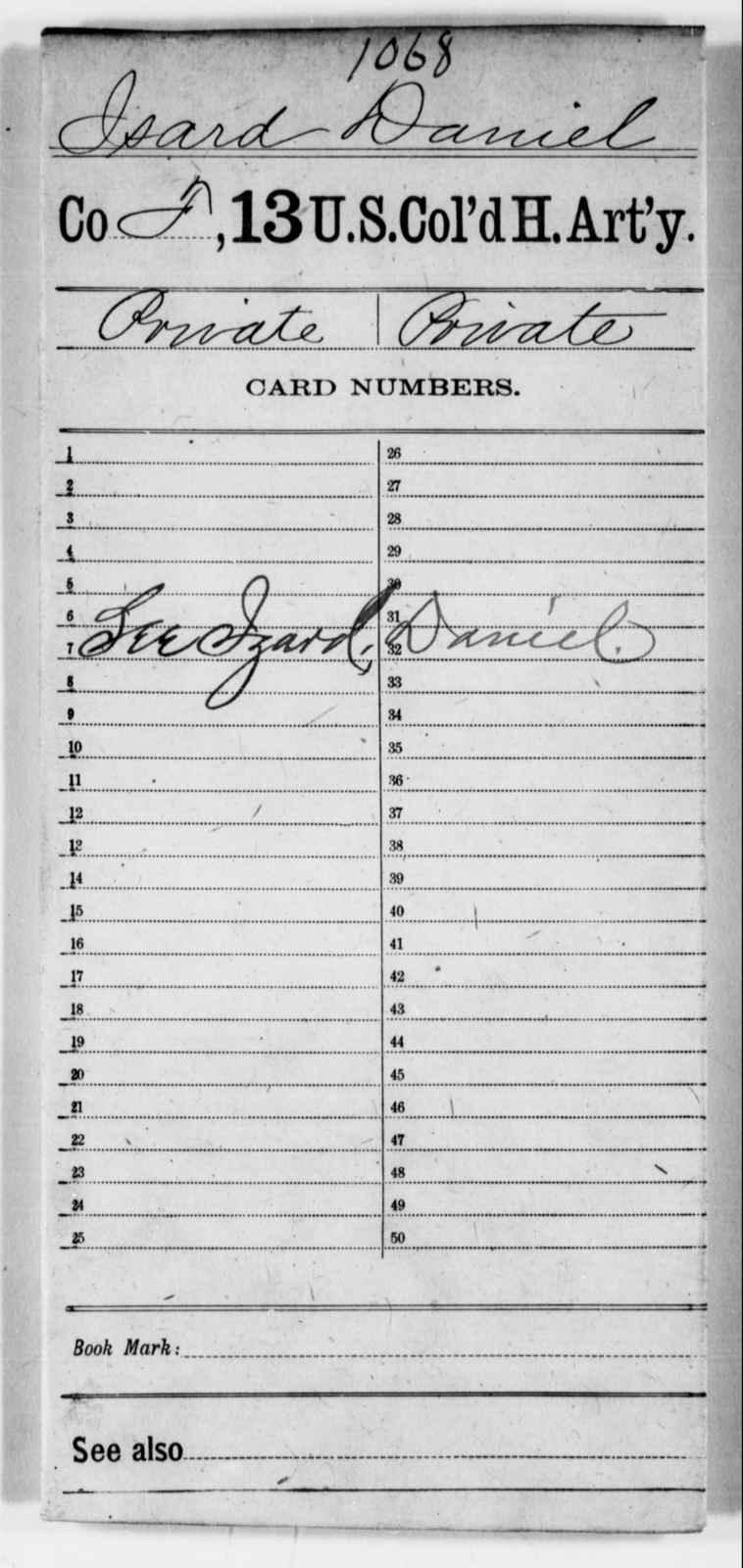 Isard, Daniel - Age [Blank], Year: [Blank] - 13th US Colored Heavy Artillery - United States Colored Troops: Artillery Organizations