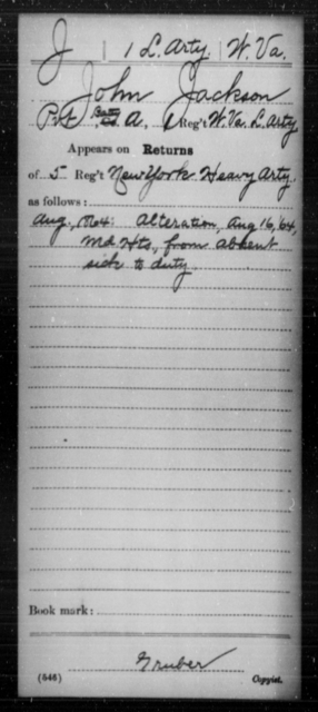 Jackson, John - Age [Blank], Year: 1864 - Miscellaneous Card Abstracts of Records - West Virginia