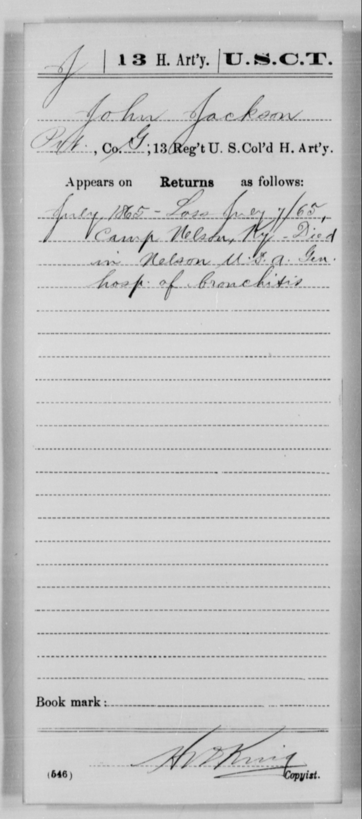 Jackson, John - Age [Blank], Year: 1865 - 13th US Colored Heavy Artillery, Misc Cards - United States Colored Troops: Artillery Organizations