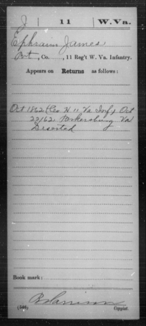 James, Ephraim - Age [Blank], Year: 1862 - Miscellaneous Card Abstracts of Records - West Virginia