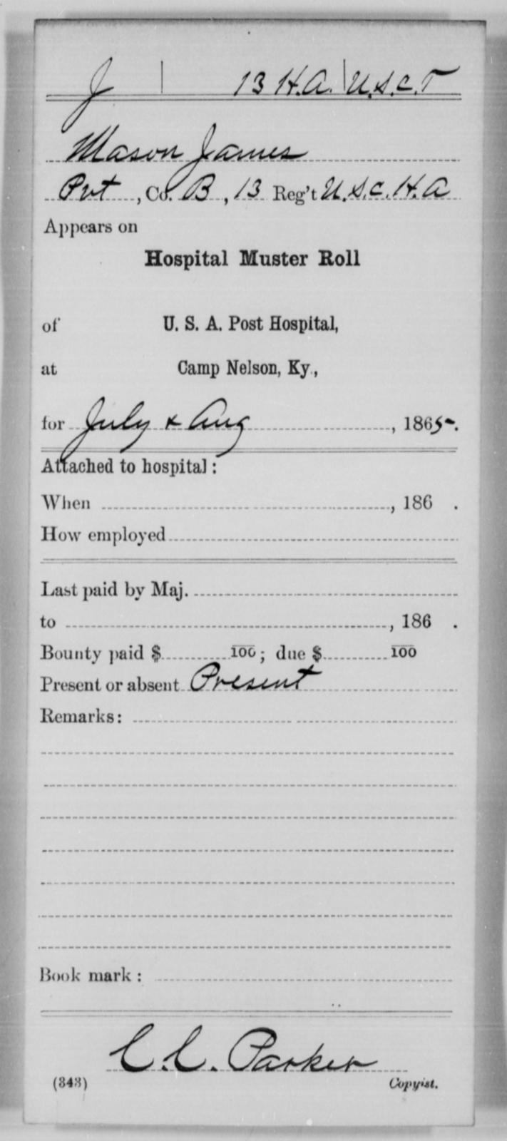James, Mason - Age [Blank], Year: 1865 - 13th US Colored Heavy Artillery, Misc Cards - United States Colored Troops: Artillery Organizations