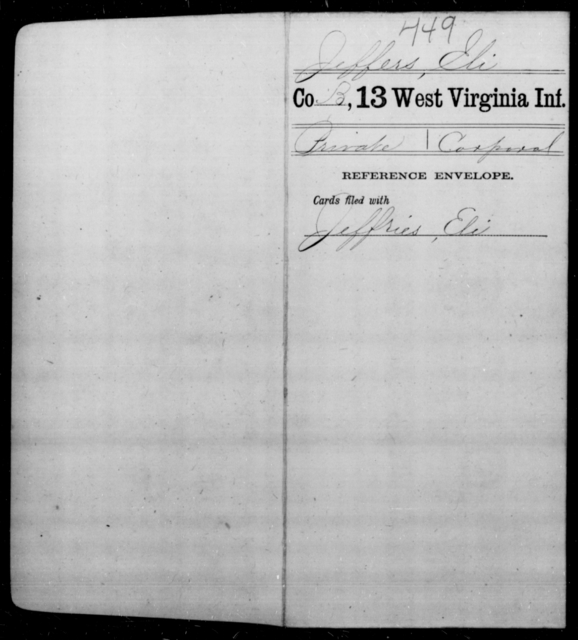 Jeffers, Eli - Age [Blank], Year: [Blank] - Thirteenth Infantry, A-W - West Virginia