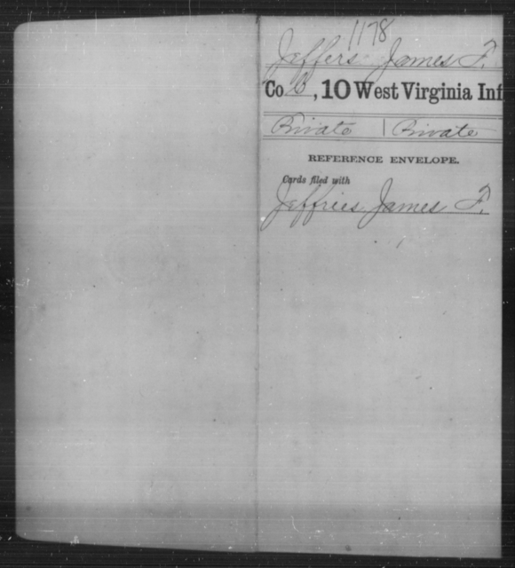 Jeffers, James F - Age [Blank], Year: [Blank] - Tenth Infantry - West Virginia