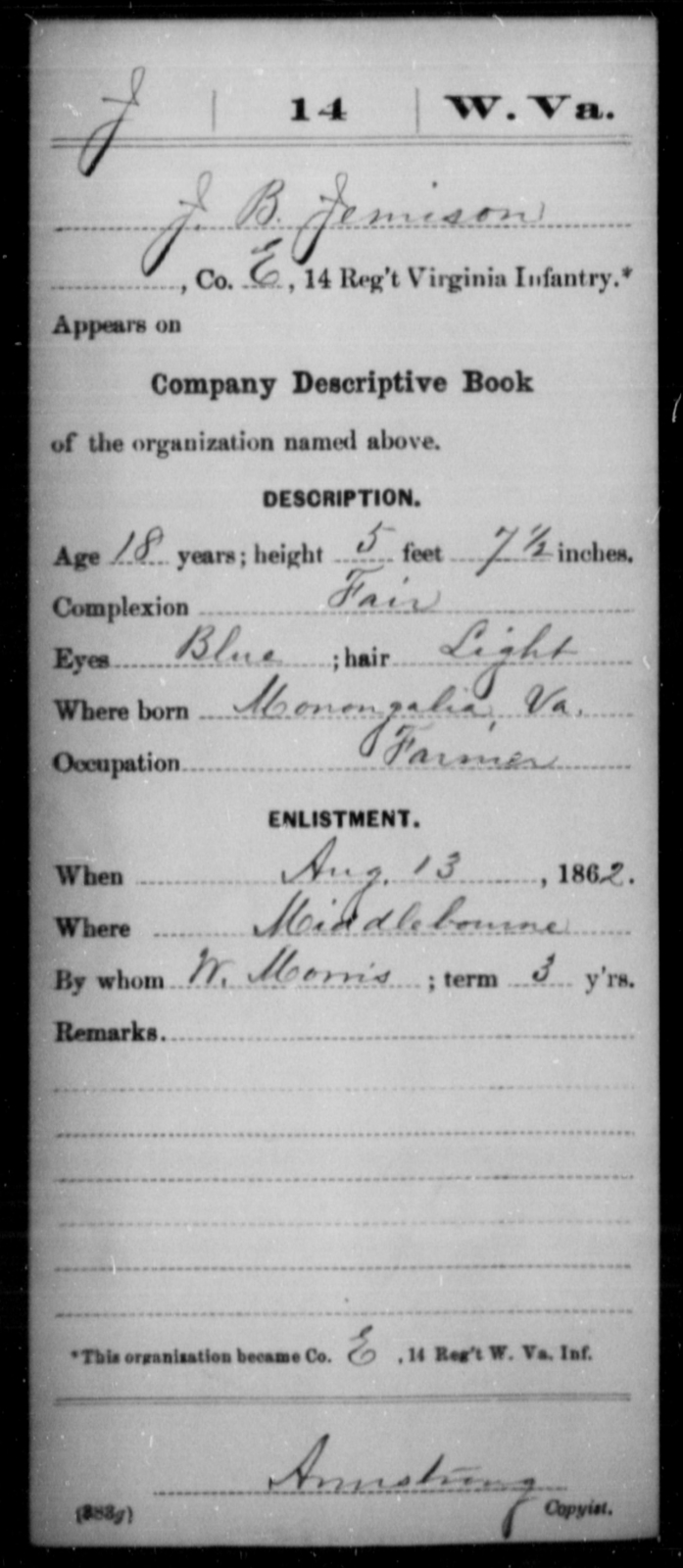 Jemison, J B - Age 18, Year: 1862 - Miscellaneous Card Abstracts of Records - West Virginia