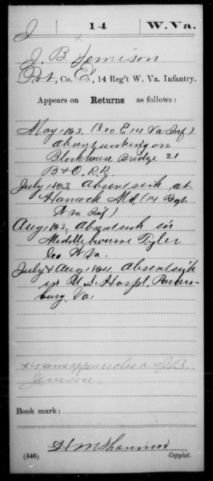 Jemison, J B - Age [Blank], Year: 1863 - Miscellaneous Card Abstracts of Records - West Virginia