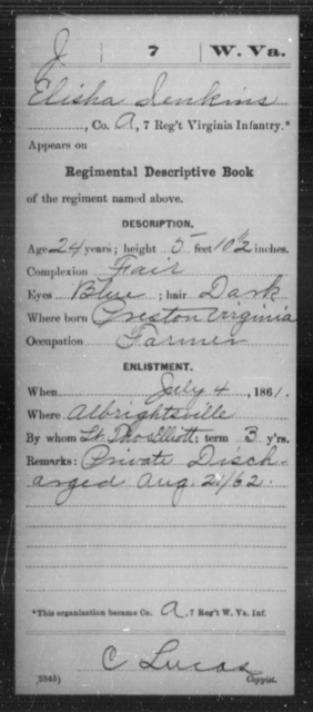 Jenkins, Elisha - Age 24, Year: 1861 - Miscellaneous Card Abstracts of Records - West Virginia