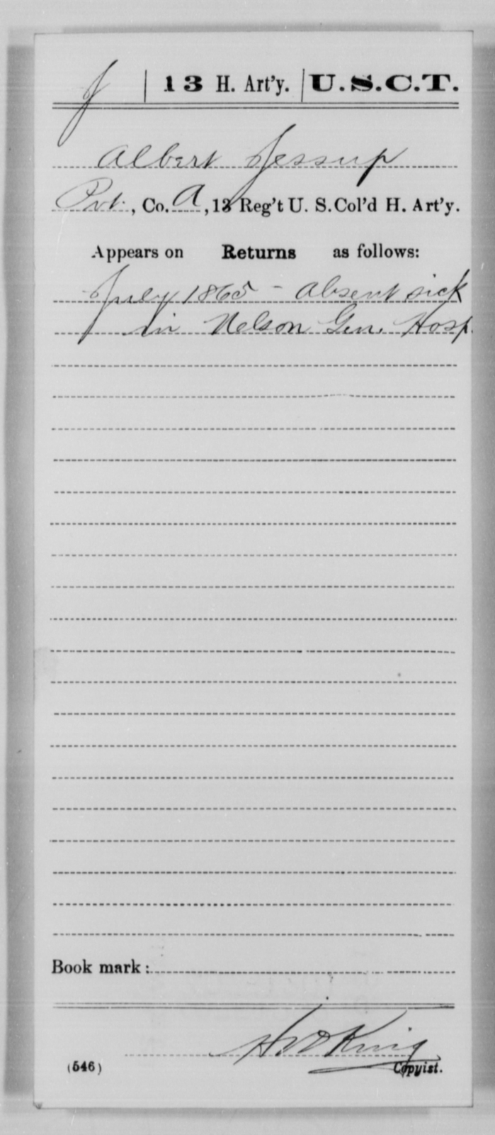 Jessup, Albert - Age [Blank], Year: 1865 - 13th US Colored Heavy Artillery, Misc Cards - United States Colored Troops: Artillery Organizations