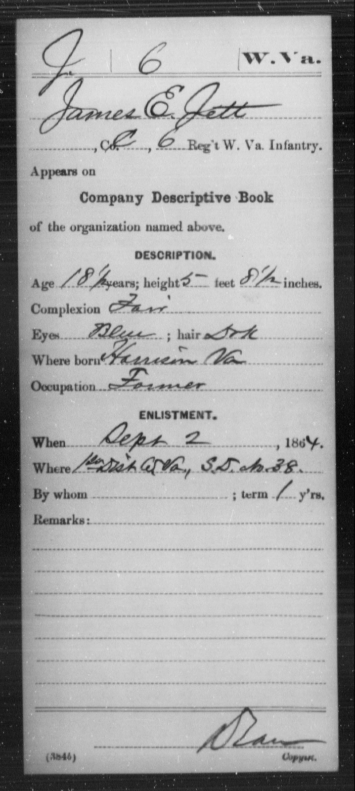 Jett, James E - Age 18, Year: 1864 - Miscellaneous Card Abstracts of Records - West Virginia