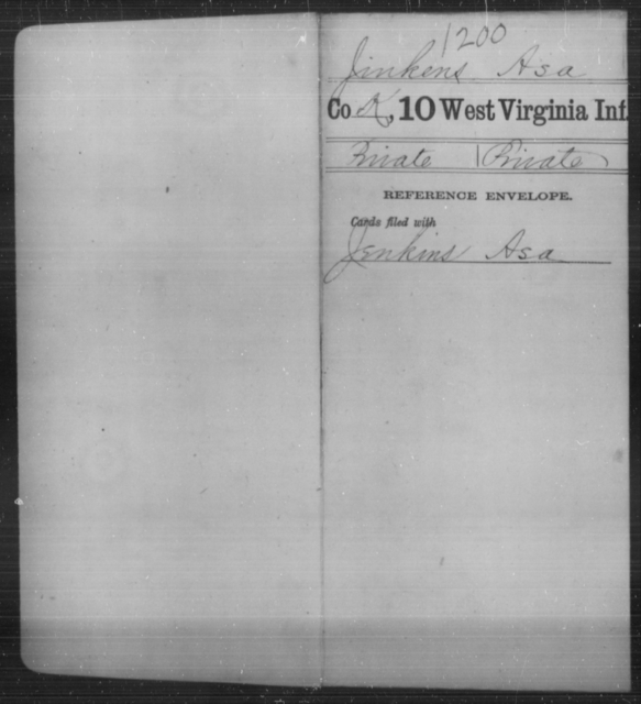 Jinkens, Asa - Age [Blank], Year: [Blank] - Tenth Infantry - West Virginia