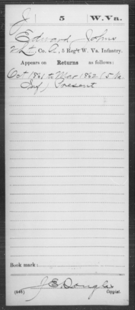 Johns, Edward - Age [Blank], Year: 1861 - Miscellaneous Card Abstracts of Records - West Virginia