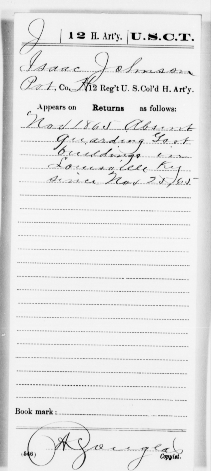 Johnson, Isaac - Age [Blank], Year: 1865 - 12th US Colored Heavy Artillery, Misc Cards, H-Y - United States Colored Troops: Artillery Organizations