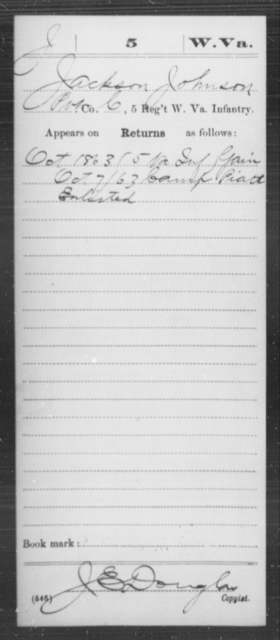 Johnson, Jackson - Age [Blank], Year: 1863 - Miscellaneous Card Abstracts of Records - West Virginia