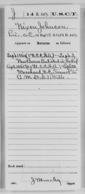 Johnson, Nixon - Age [Blank], Year: 1864 - 14th US Colored Heavy Artillery, Wi-Y AND Misc Cards - United States Colored Troops: Artillery Organizations