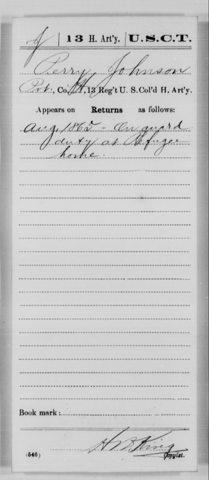 Johnson, Perry - Age [Blank], Year: 1865 - 13th US Colored Heavy Artillery, Misc Cards - United States Colored Troops: Artillery Organizations
