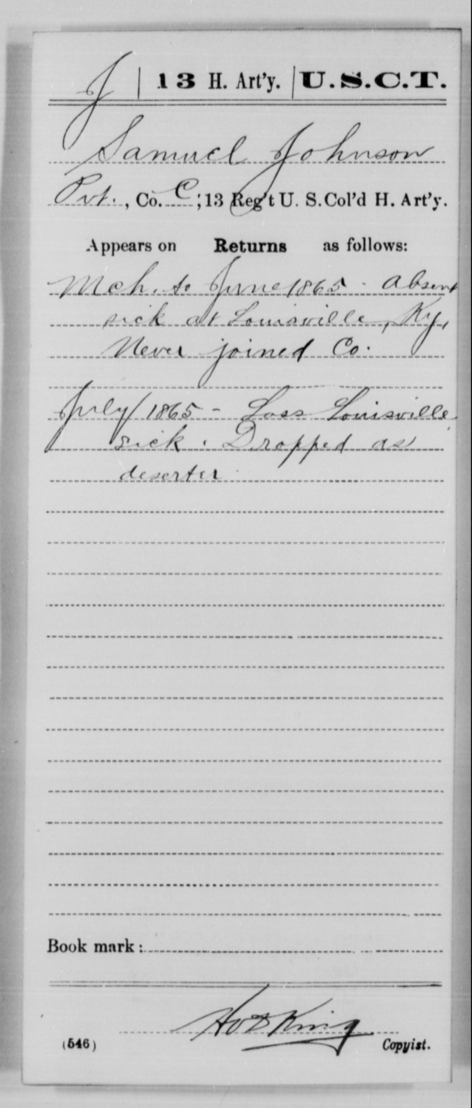 Johnson, Samuel - Age [Blank], Year: 1865 - 13th US Colored Heavy Artillery, Misc Cards - United States Colored Troops: Artillery Organizations