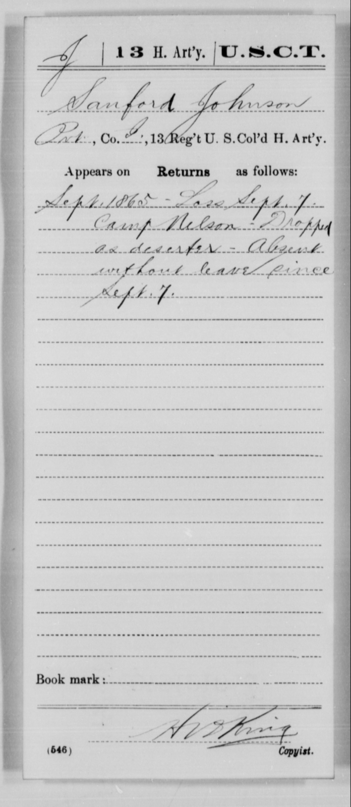 Johnson, Sanford - Age [Blank], Year: 1865 - 13th US Colored Heavy Artillery, Misc Cards - United States Colored Troops: Artillery Organizations
