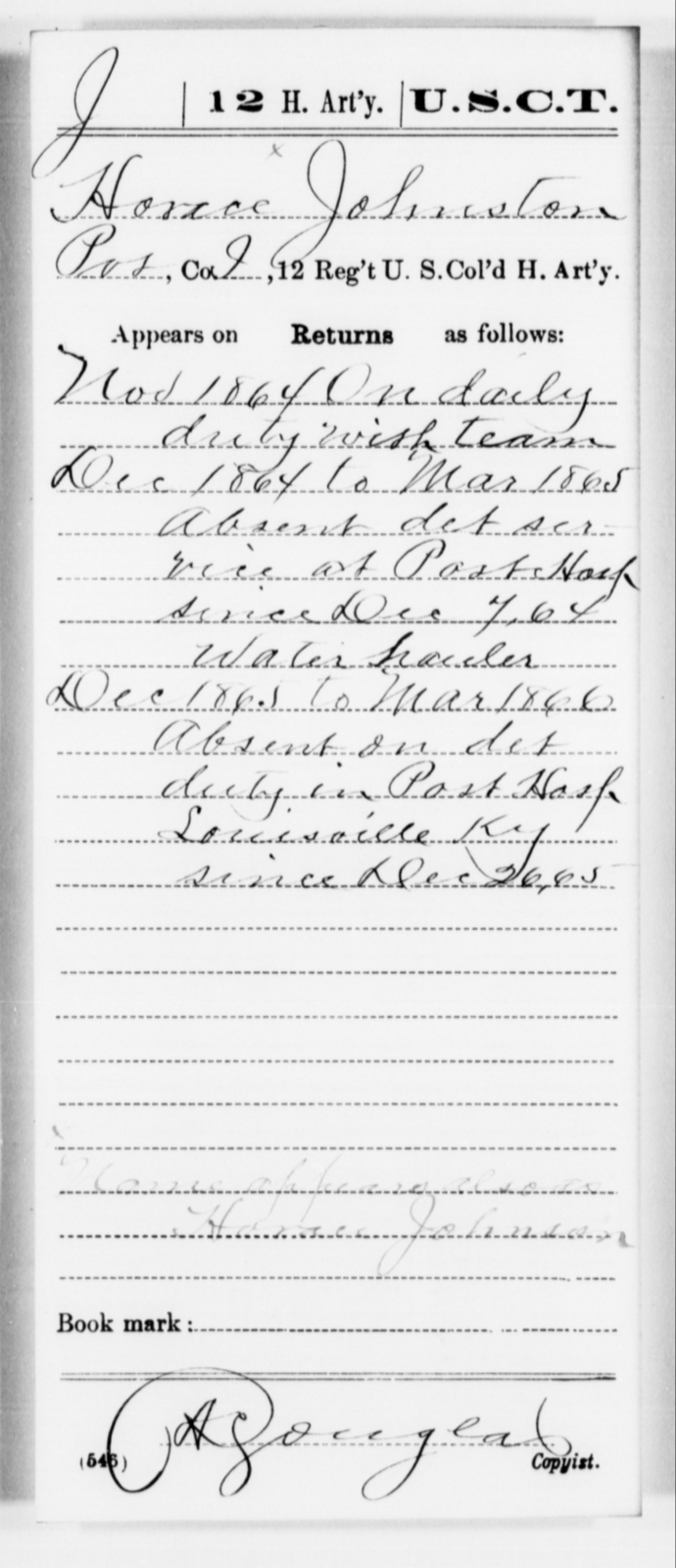 Johnston, Horace - Age [Blank], Year: 1864 - 12th US Colored Heavy Artillery, Misc Cards, H-Y - United States Colored Troops: Artillery Organizations
