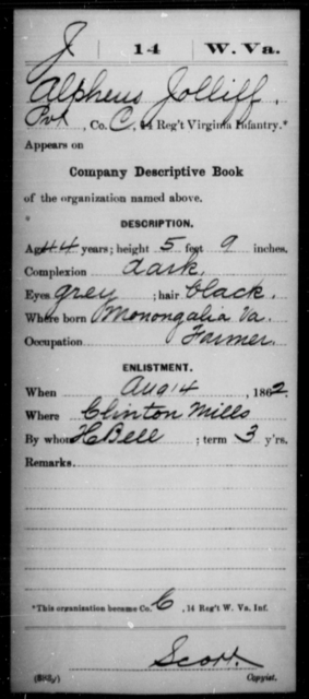 Jolliff, Alpheus - Age 44, Year: 1862 - Miscellaneous Card Abstracts of Records - West Virginia