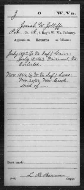 Jolliffe, Josiah W - Age [Blank], Year: 1863 - Miscellaneous Card Abstracts of Records - West Virginia