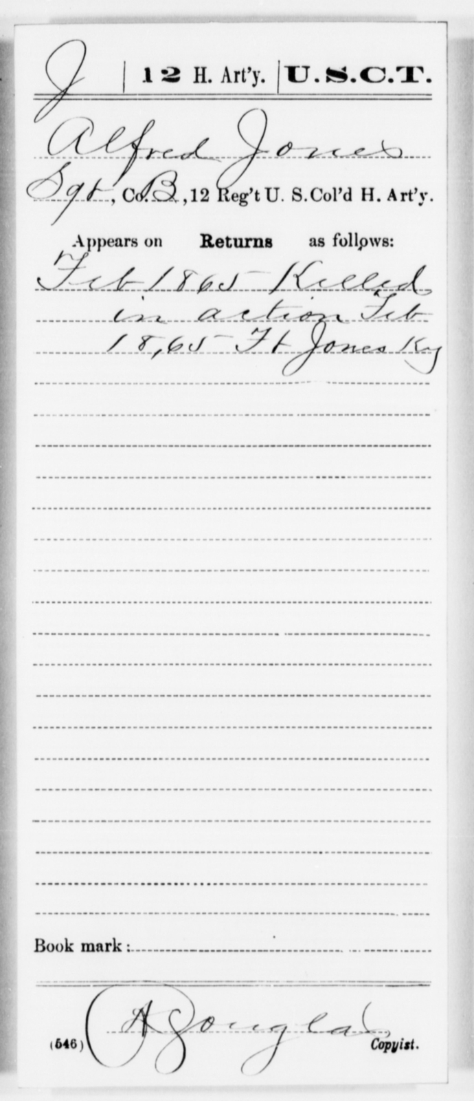 Jones, Alfred - Age [Blank], Year: 1865 - 12th US Colored Heavy Artillery, Misc Cards, H-Y - United States Colored Troops: Artillery Organizations