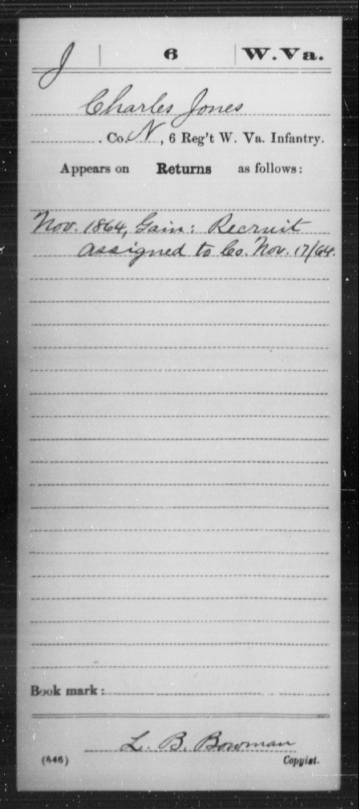 Jones, Charles - Age [Blank], Year: 1864 - Miscellaneous Card Abstracts of Records - West Virginia
