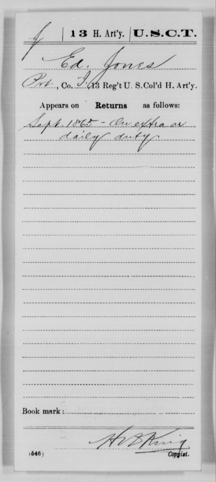 Jones, Ed - Age [Blank], Year: 1865 - 13th US Colored Heavy Artillery, Misc Cards - United States Colored Troops: Artillery Organizations