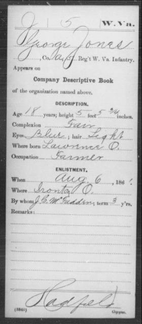 Jones, George - Age 18, Year: 1861 - Miscellaneous Card Abstracts of Records - West Virginia