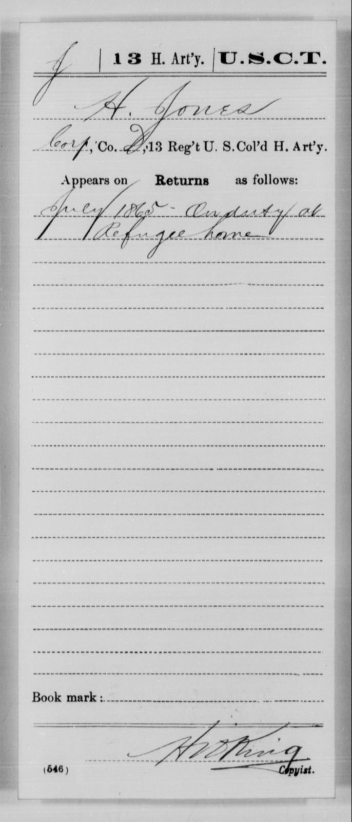 Jones, H - Age [Blank], Year: 1865 - 13th US Colored Heavy Artillery, Misc Cards - United States Colored Troops: Artillery Organizations