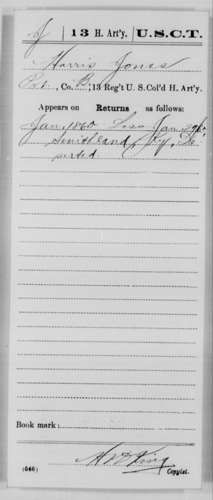 Jones, Harris - Age [Blank], Year: 1865 - 13th US Colored Heavy Artillery, Misc Cards - United States Colored Troops: Artillery Organizations